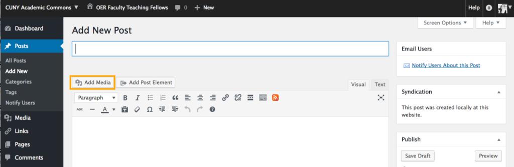 Screenshot of insert media button