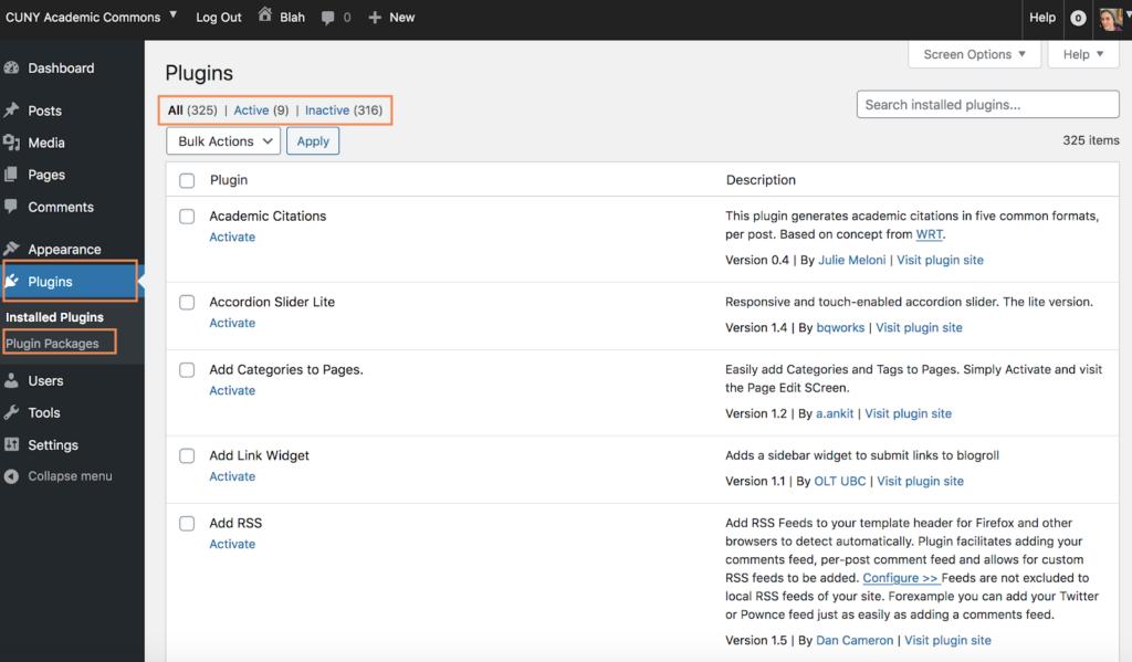 Screenshot of plugin directory