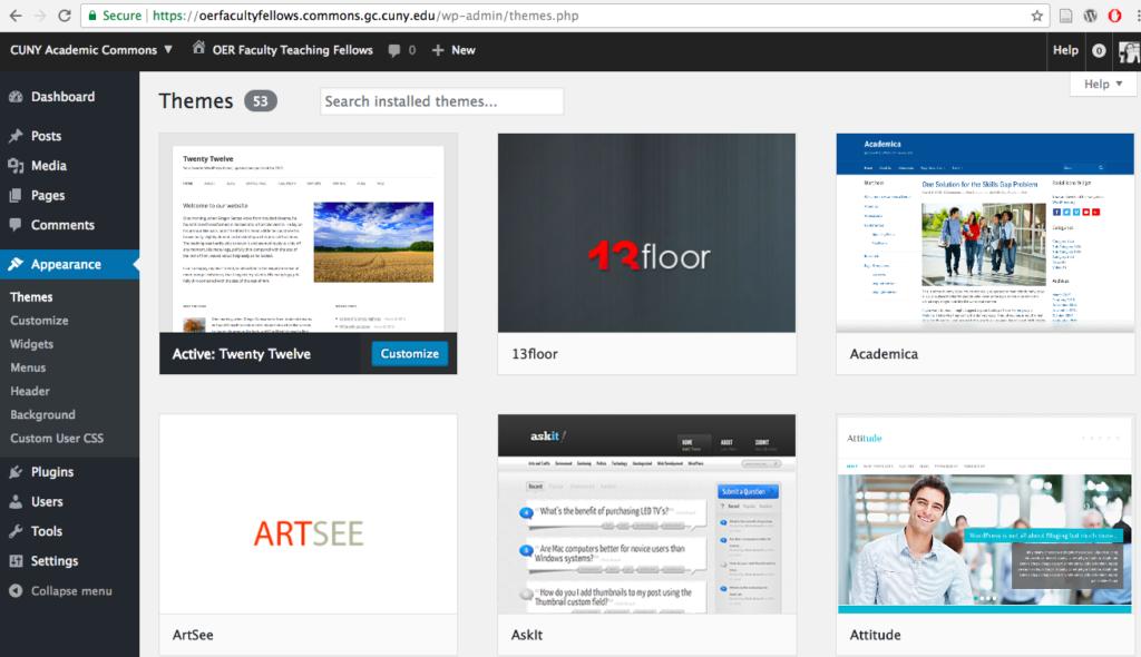 screenshot of themes directory